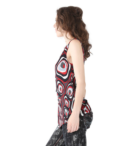 Miss Sixty Black Red Grey White Circular Print Top