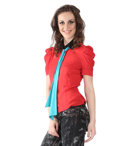 Miss Sixty Red Shirt With Black Collar