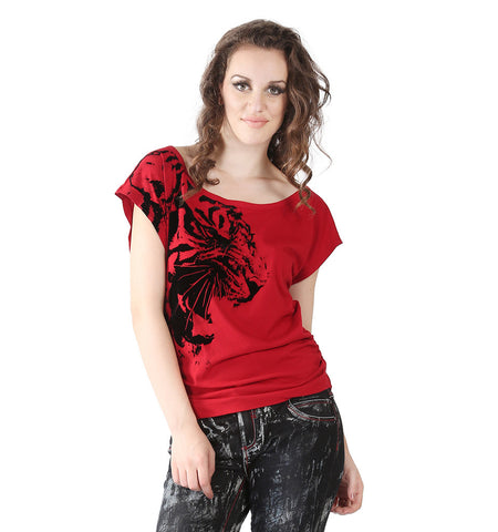 Miss Sixty Red T-shirt With Black Velvet Tiger In Front