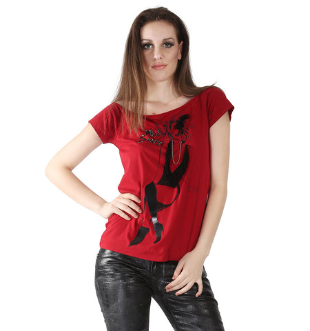 Miss Sixty Red T-shirt With Crystal Necklace Hanging In Front