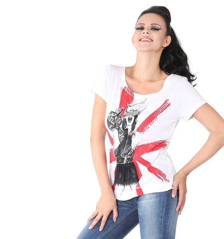 Miss Sixty White T-shirt With Studed Eyewear And Net Infront