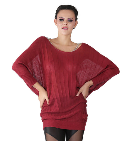 Miss Sixty Maroon Knitwear With Chain At The Neck