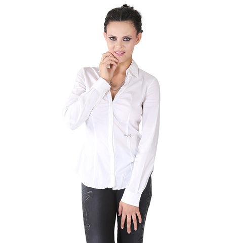 Miss Sixty White Shirt With Chain At The Neck