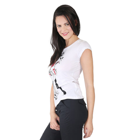 Miss Sixty White T-shirt With Girl With Guitar In Front