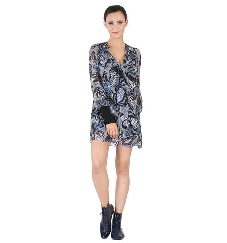 Miss Sixty Blue Butterfly Printed Full Sleeve Dress