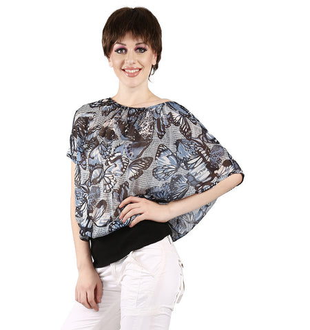 Miss Sixty Blue Butterfly Printed Top