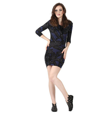 Miss Sixty Black Printed Full Sleeve Dress With Purple Black Print All Over