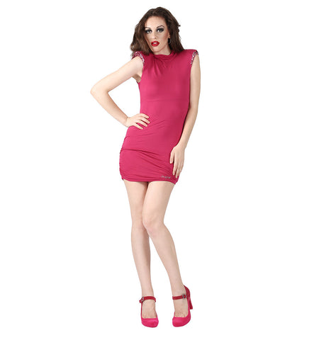 Miss Sixty Hot pink dress with sequence on the sleeve
