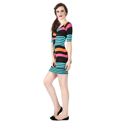 Miss Sixty Multi Colored Striped Dress