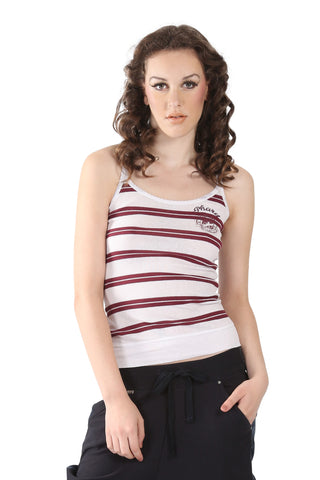 Phard White Tank Top With Red Stripes