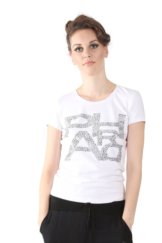 Phard White T-Shirt with Metallic Print