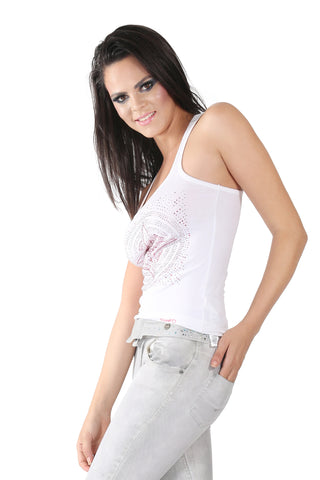 Phard White Tank Top With Star Sequence