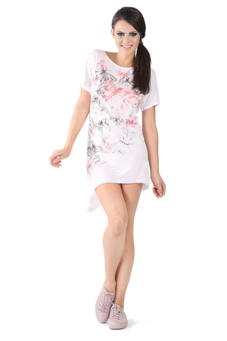 Phard White Long Top With Butterfly Print