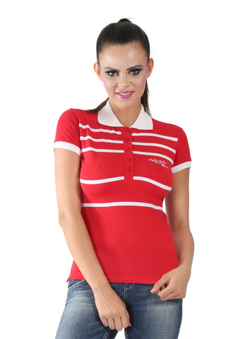 Phard Red T-Shirt With White Collar