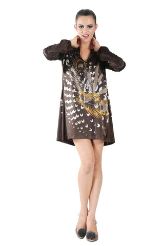 Phard Dark Chocolate Color Printed Full Sleeve Dress