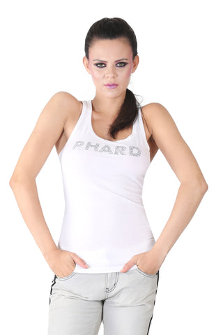 Phard White Tank Top With Metallic Print