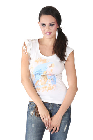 Phard White Top With Parrot Print