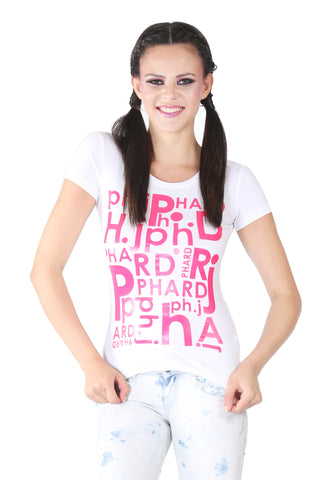 Phard White T-Shirt With Pink Print