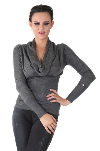 Phard Grey Top With Cowl Neckline