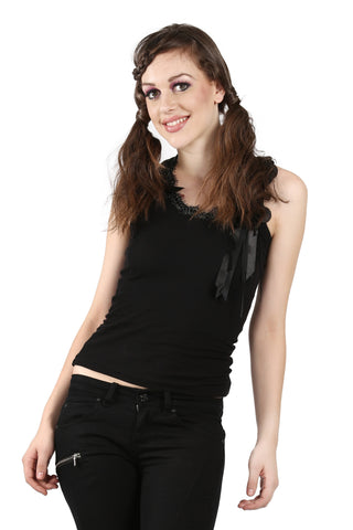 Phard Black Tank Top with lace bow