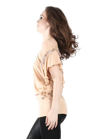 Phard Peach Long Top With Sequence On The Sleeves