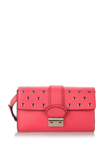 RED VALENTINO Red leather studded cross body bag