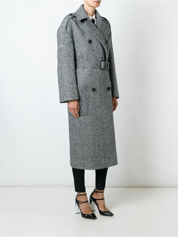 Grey wool double-breasted belted coat
