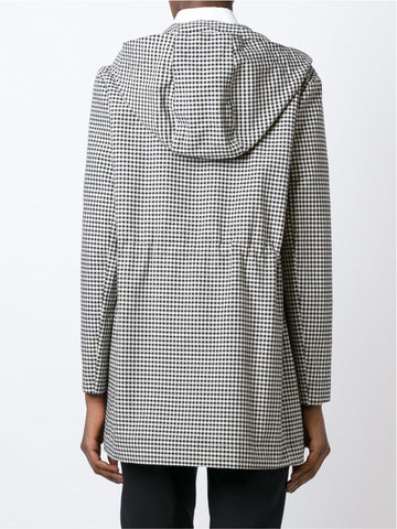 Black and white checked hooded coat