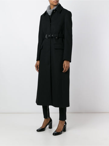 Black wool belted single breasted coat.