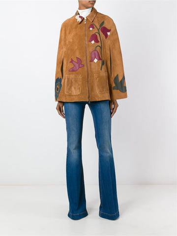 Brown suede bird and flower detailed cape