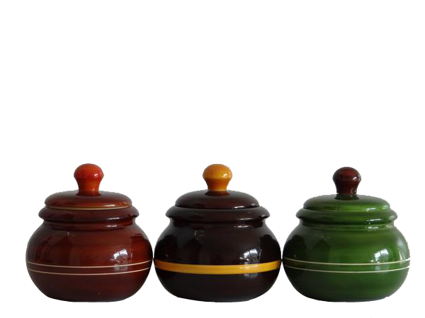 "'Bharani' - Sustainable Wood Multi-purpose Jars - 4""h x 3""w x 3""d - Set of 3"