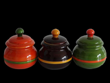 "'Bharani'-Handcrafted,decorative jars made from Sustainably harvested wood - 4""h x 3""w x 3""d - Set of 3"