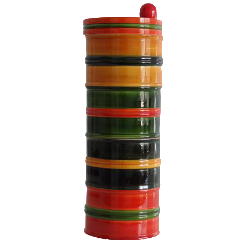 "Sustainable Wood, 4 - Tier Multi-purpose swivel Jar - 10""h x 4""w x 4""d - 'Chitra'"