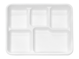 "Terrahue 5 compartment Lunch Tray 10""x 8"", Biodegradable, Compostable, Sugarcane bagasse"