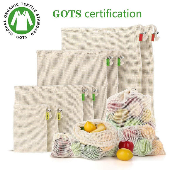 Eco friendly 100% Organic Cotton Mesh produce Bags , Bio-degradable