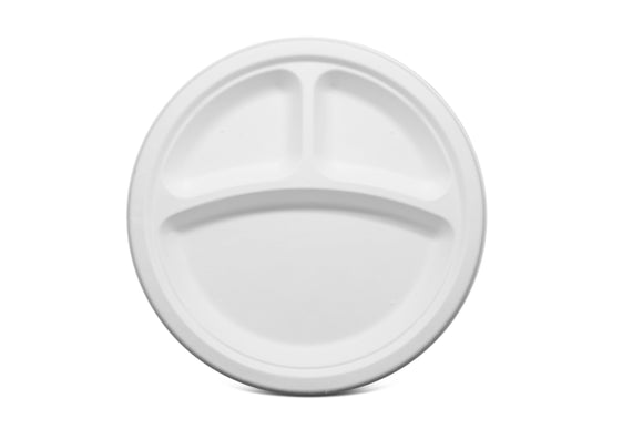 Terrahue 9 inch 3 compartment Round Plate, Biodegradable & Compostable, Sugarcane Bagasse
