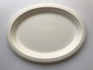 10 inch X 12 inch Oval Tray, Biodegradable, Compostable, Sugarcane Bagasse, Eco-friendly