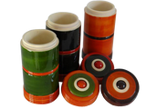 "Tea/Spice storage Jars 'Kesari' - Sustainably harvested Wood 6""h x 3""w x 3""d - Set of 3"