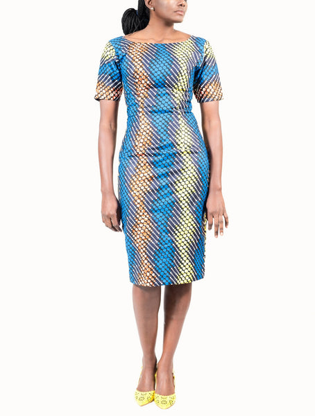 Shift dress in Colette electric blue print