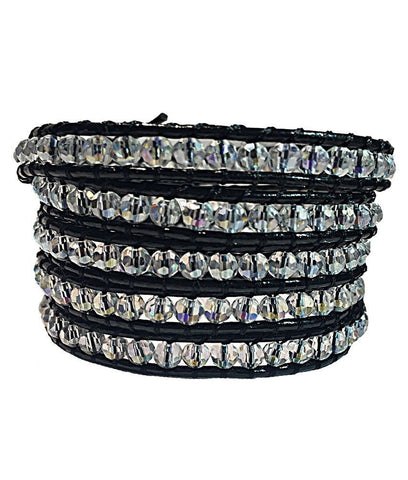 Wrap Bracelet - Black Leather White Crystal Wrap Bracelet