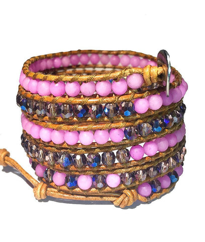 Wrap Bracelet - Blue Tint Crystals And Pink Stones Wrap Bracelet