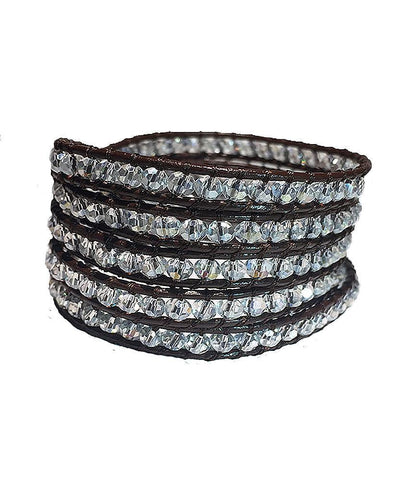 Wrap Bracelet - Brown Leather White Crystals Wrap Bracelet