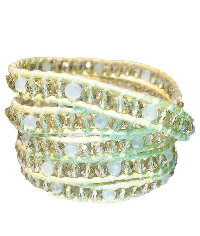 Wrap Bracelet - Champagne And White Gemstone Wrap Bracelet