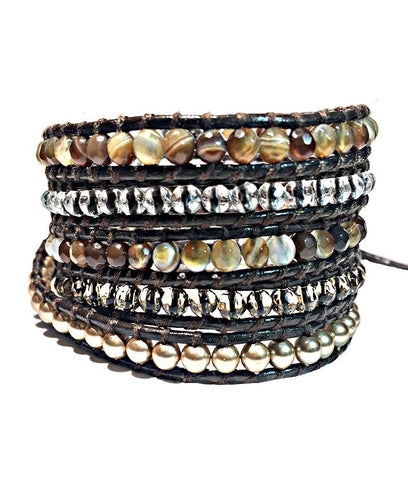 Wrap Bracelet - Earthy Brown Gemstone Wrap Bracelet