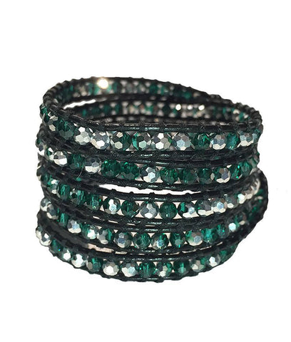 Wrap Bracelet - Emerald Green And White Crystal Wrap Bracelet