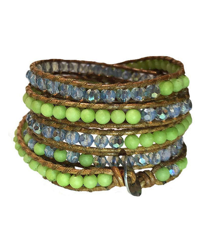 Wrap Bracelet - Light Green Stones White Crystals Wrap Bracelet
