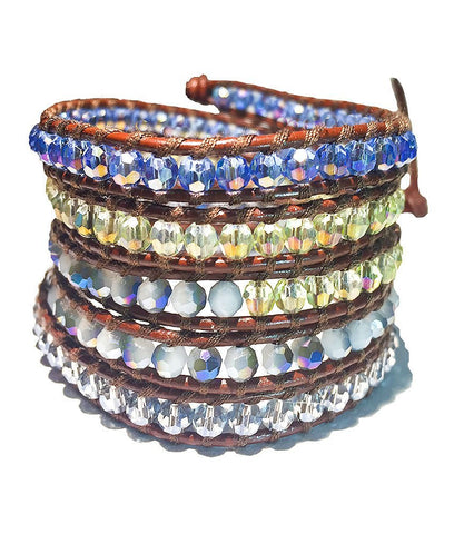 Wrap Bracelet - Modern Grey And Electric Blue Wrap Bracelet