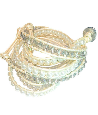 Wrap Bracelet - Pearl And White Crystal Wrap Bracelet