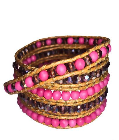 Wrap Bracelet - Pink And Violet Gemstone Wrap Bracelet