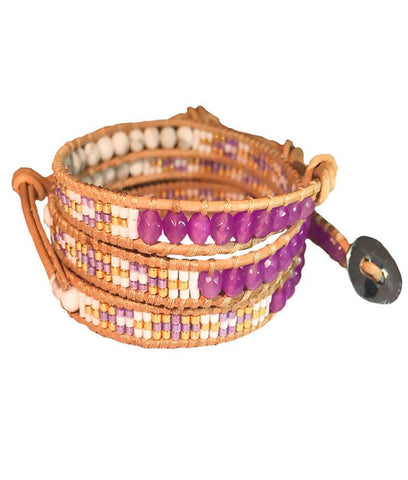 Wrap Bracelet - Purple Indian Pattern Wrap Bracelet